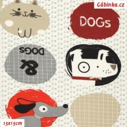 Úplet s EL - Kočky a pejsci v kolečkách, 15x15 cm