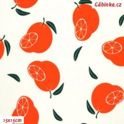 Úplet s EL - Voňavé pomeranče na bílé, ATEST 1, šíře 150 cm, 10 cm