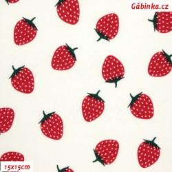 E - Úplet s EL - Voňavé jahody na bílé, ATEST 1, šíře 150 cm, 10 cm