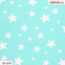 Plátno - Hvězdičky různě velké bílé na mentolové, šíře 160 cm, 10 cm