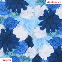 Kočárkovina Premium, Modré a bílé květy, šíře 157 cm, 10 cm