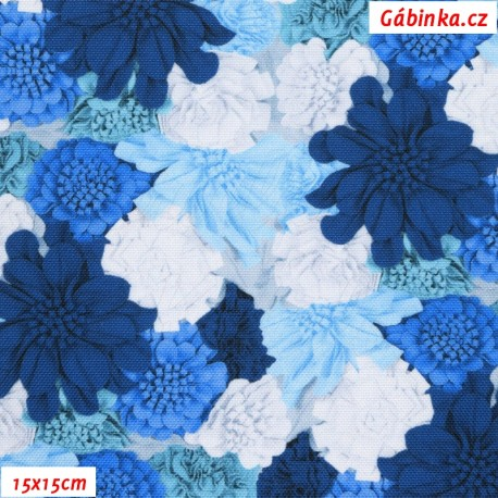 Kočárkovina Premium, Modré a bílé květy, 15x15 cm