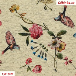 Kočárkovina Premium, Ptáčci a květiny na žíhaném lnu, šíře 157 cm, 10 cm, ATEST 1