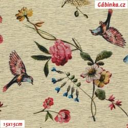 Kočárkovina Premium - Ptáčci a květiny na žíhaném lnu, šíře 155 cm, 10 cm, ATEST 1