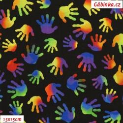 Plátno USA - QT Jesus Loves the Little Children - Ručičky na černé, šíře 110 cm, 10 cm