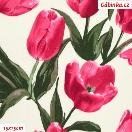 Plátno s EL - Tulipány růžové, 15x15 cm