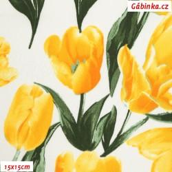 Plátno s EL - Tulipány žluté, 15x15 cm