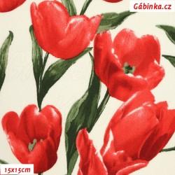 Plátno s EL - Tulipány červené, 15x15 cm
