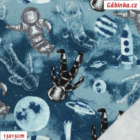 Teplákovina počesaná s EL - Astronomy modré, 15x15 cm
