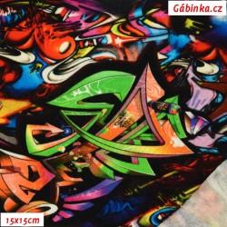 Teplákovina počesaná s EL - Barevné graffiti, 15x15 cm