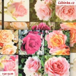 Hedvábí - Růžičky růžové ve čtvercích, 15x15 cm