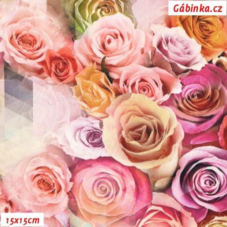 Hedvábí - Růžičky, 15x15 cm