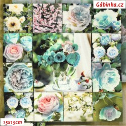 Hedvábí - Růžičky zelené ve čtvercích, 15x15 cm