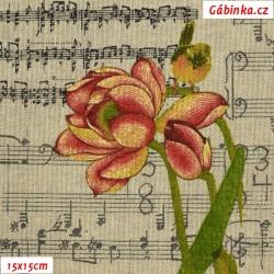 Režné plátno - Noty s barevnými květinami, šíře 140 cm, 10 cm