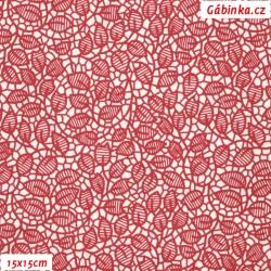 Plátno - Lístečky v mozaice červené na bílé, 15x15 cm