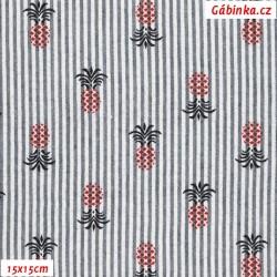 Krep - Proužky s ananasy modré a bílé, 15x15 cm