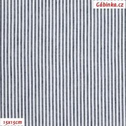 Krep - Proužky modré a bílé, 15x15 cm