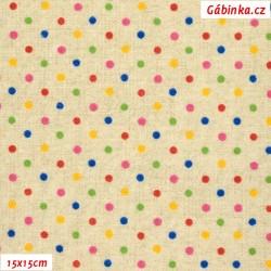 Režné plátno - Barevné puntíky, 15x15 cm