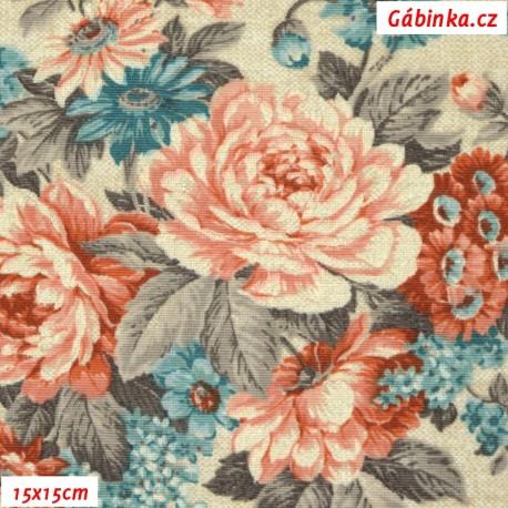 Režné plátno - Červené, modré a šedé květiny, 15x15 cm
