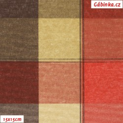 Režné plátno - Kostky do červena, 15x15 cm