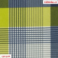 Režné plátno - Kostky do zelena, šíře 140 cm, 10 cm