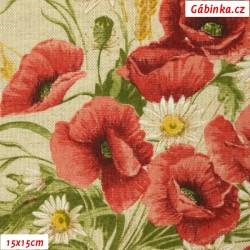 Režné plátno - Kytice vlčích máků s obilím, 15x15 cm