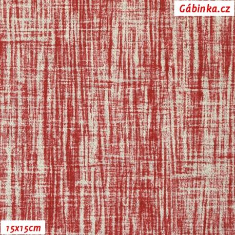 Režné plátno - Červený melír, 15x15 cm