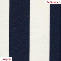 Režné plátno - Modré a bílé pruhy, šíře 140 cm, 10 cm