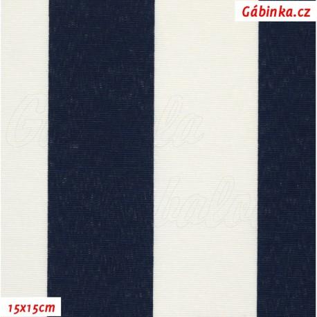 Režné plátno - Modré a bílé pruhy, 15x15 cm