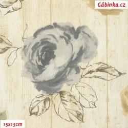 Režné plátno - Růže bílé, šedé a sv. hnědé na dřevu, 15x15 cm