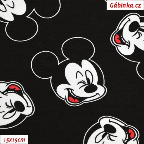 Teplákovina s EL - Mickey Mouse na černé, LICENCE, 15x15 cm