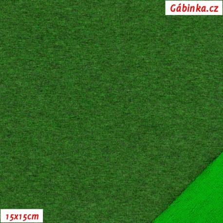 Teplákovina s EL - Zelený melír, 15x15 cm