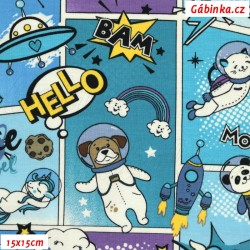 Úplet s EL - Komiks modrý zvířátka ve vesmíru, šíře 140 cm, 10 cm