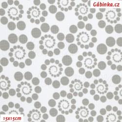 Kočárkovina MAT, Spirálky z puntíků sv. šedé na bílé, šíře 160 cm, 10 cm, Atest 1