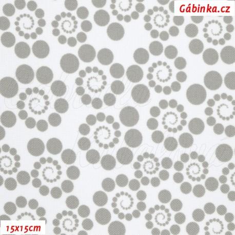 Kočárkovina, Spirálky z puntíků sv. šedé na bílé, 15x15cm