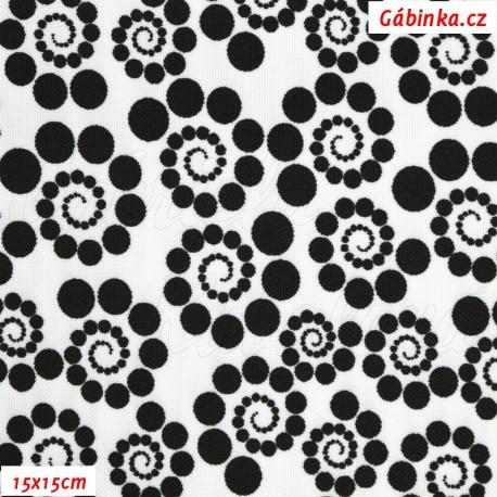 Kočárkovina, Spirálky z puntíků černé na bílé, 15x15cm
