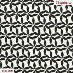 Kočárkovina MAT, Kytičky z lístečků černé, šíře 160 cm, 10 cm, Atest 1