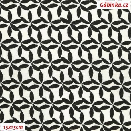 Kočárkovina MAT, Kytičky z lístečků černé, 15x15 cm