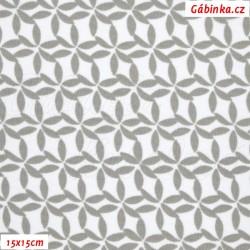 Kočárkovina MAT, Kytičky z lístečků světle šedé, šíře 160 cm, 10 cm, Atest 1