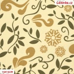 Kočárkovina MAT, Lístečky a květy béžové a hnědé na smetanové, šíře 160 cm, 10 cm, Atest 1