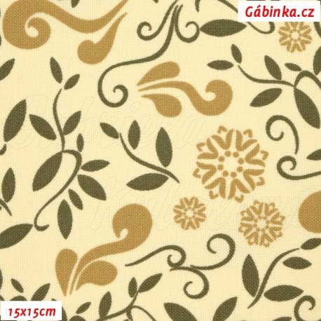 Kočárkovina MAT, Lístečky a květy béžové a hnědé na smetanové, 15x15 cm