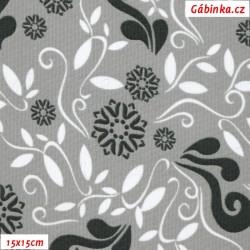 Kočárkovina MAT, Lístečky a květy černé a bílé na šedé, šíře 160 cm, 10 cm, Atest 1