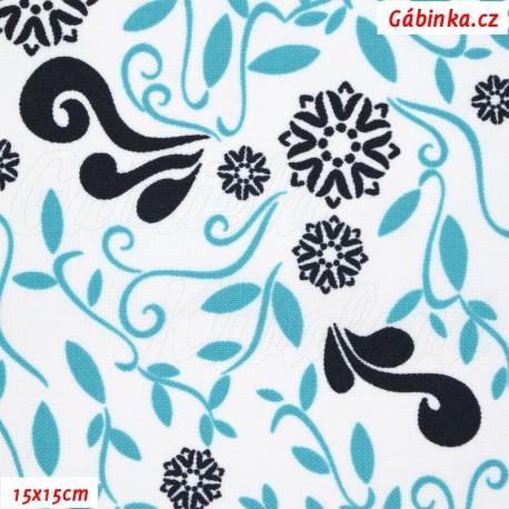 Kočárkovina MAT, Lístečky a květy modré a tyrkysové na bílé, 15x15 cm
