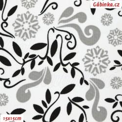 Kočárkovina MAT, Lístečky a květy šedé a černé na bílé, šíře 160 cm, 10 cm, Atest 1
