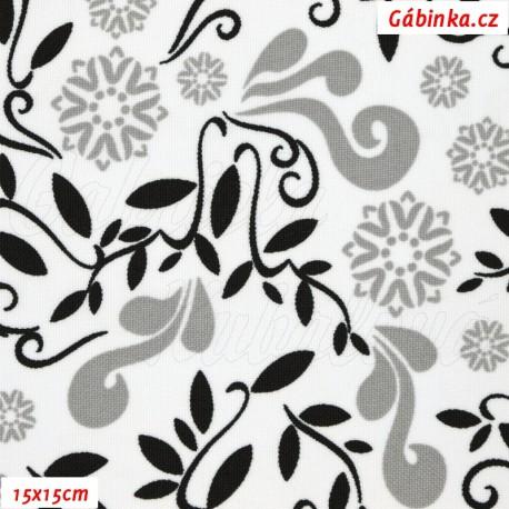Kočárkovina MAT, Lístečky a květy šedé a černé na bílé,15x15 cm