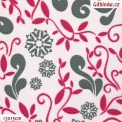 Kočárkovina MAT, Lístečky a květy šedé a červené na bílé s nádechem do růžova, šíře 160 cm, 10 cm, Atest 1
