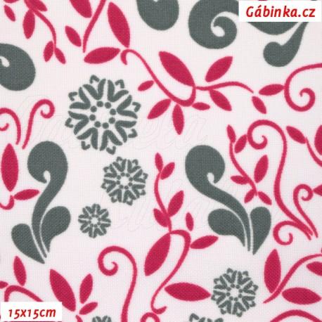 Kočárkovina MAT, Lístečky a květy šedé a červené na bílé, 15x15 cm