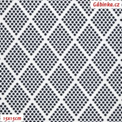 Kočárkovina MAT, Kosočtverce z puntíků tm. modré na bílé, šíře 160 cm, 10 cm, Atest 1
