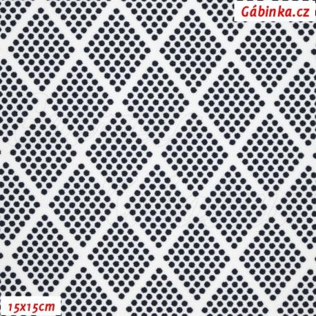 Kočárkovina, Kosočtverce z puntíků tm. modré na bílé, 15x15cm