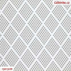 Kočárkovina MAT, Kosočtverce z puntíků sv. šedé na bílé, šíře 160 cm, 10 cm, Atest 1